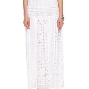 Michael Kors Cutoutpatterned White Maxi Skirt Lace